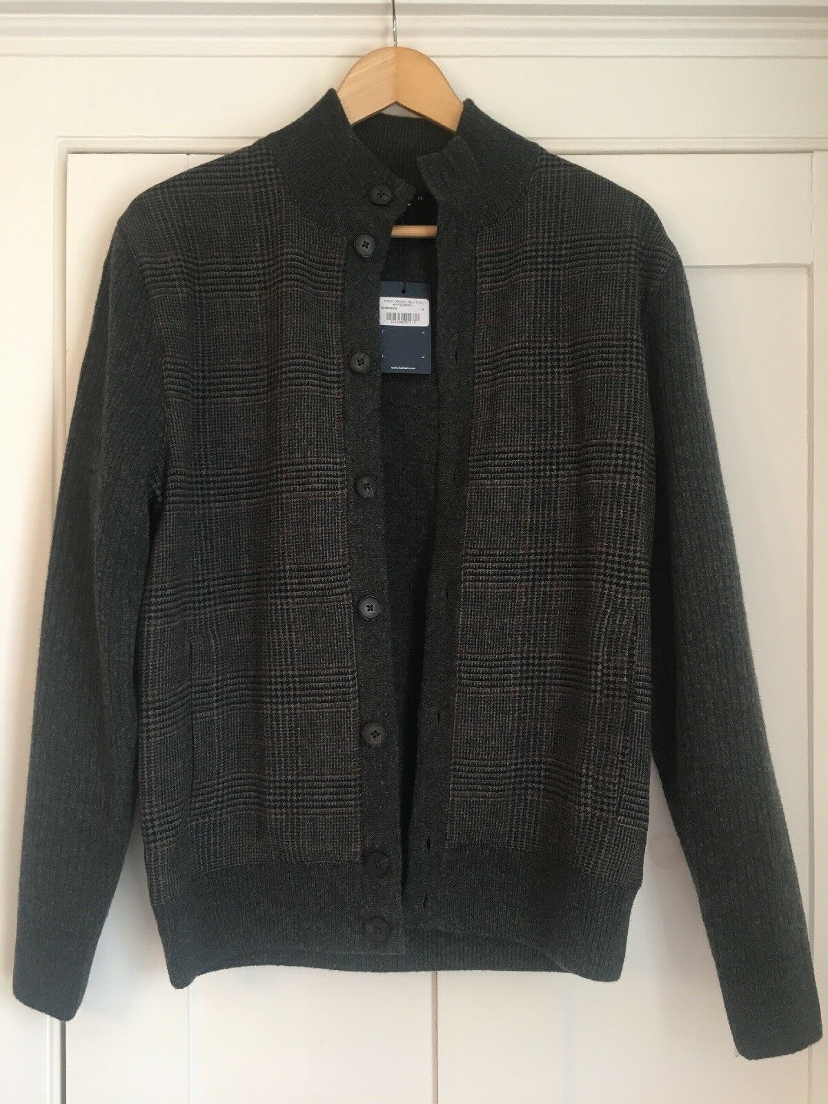 Hackett London Tweed From Button Cardigan, grau, Medium