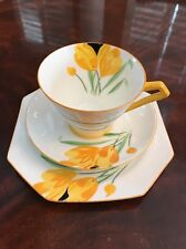 Vintage Art Deco Hand Painted Yellow Crocus Cup Saucer Trio Paragon England