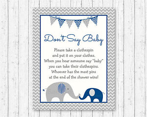 photograph relating to Don T Say Baby Game Printable identified as Info concerning Military Blue Gray Chevron Elephant Dont Say Youngster Kid Shower Activity Printable
