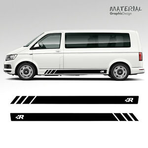 Volkswagen-VW-R-RACING-Transporter-Side-Stripe-Decals-T4-T5-T6-Vehicle-Graphic