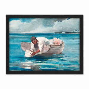 Homer-The-Water-Fan-Boat-Sea-Blue-Painting-Large-Framed-Art-Print