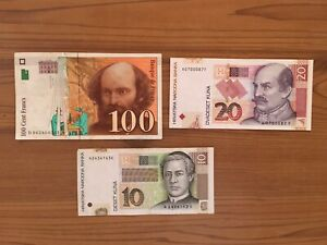 Sportif 2 Croatia Banknotes 10 20 Kuna 100 Francs France Approvisionnement Suffisant