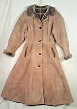 Vtg French Creek 100% Leather Suede Shearling Dress Long Coat Womens Sz 10 8 12