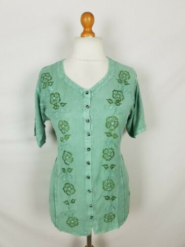 Bargain Top Blouse Full Button Belted Boho Sequin Embroidered One Size 10 12 14