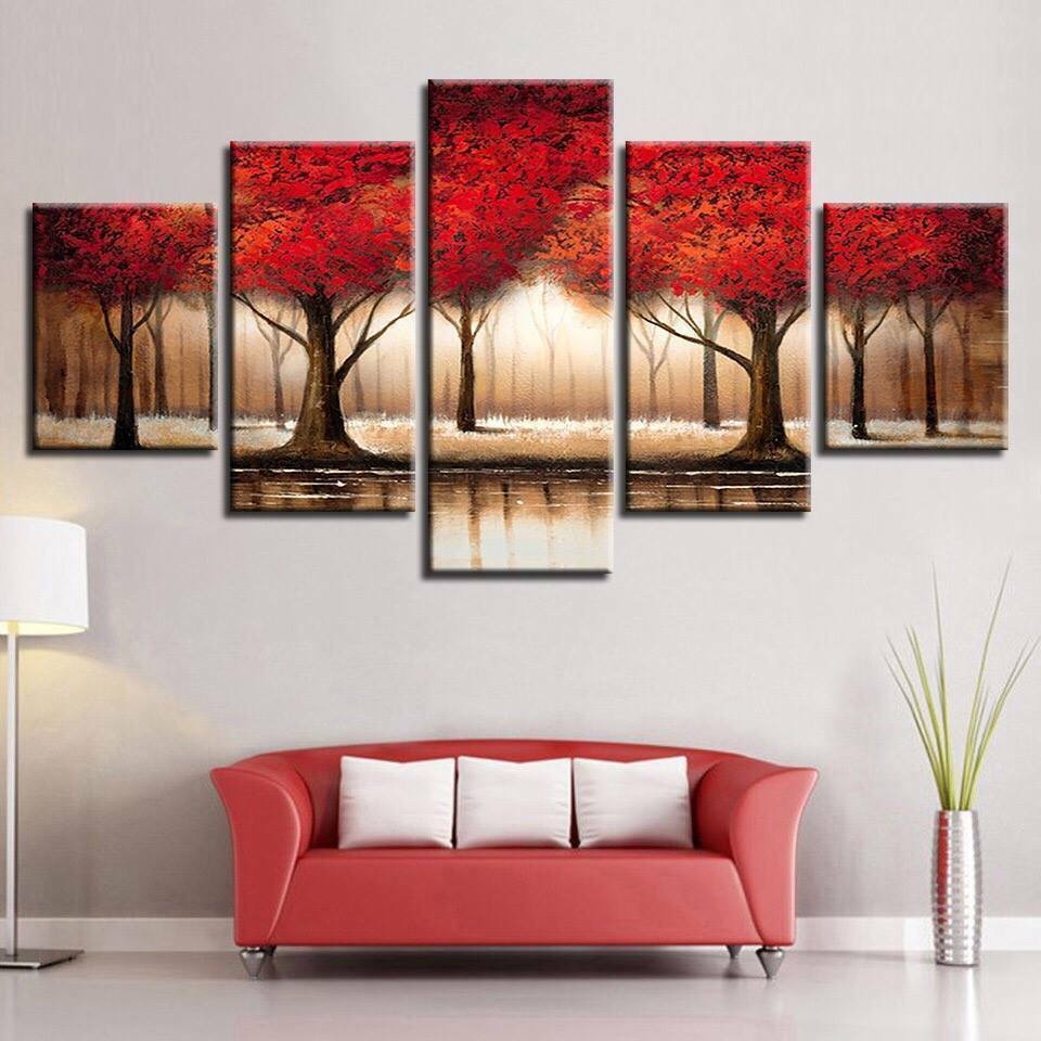 Parade of rot Trees Fall 5pcs Poster Canvas Wall Decor Home Decor Canvas Print