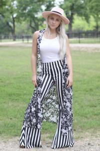 NWT Boutique Boho Black And White Stripe Bell Bottom Pants