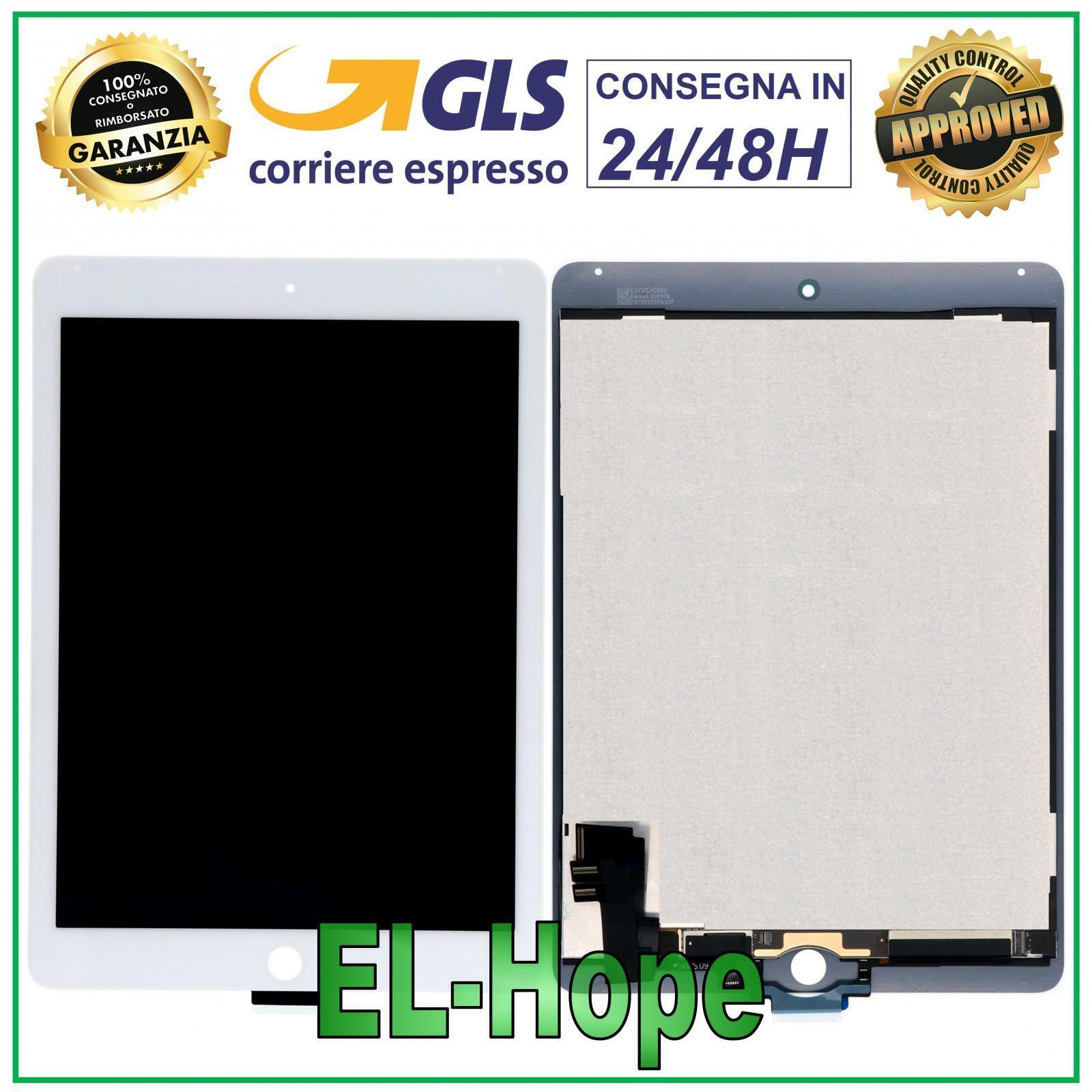 iPad: TOUCH SCREEN DISPLAY LCD PER APPLE iPad 6 Air 2 A1566 A1567 SCHERMO VETRO BIANCO