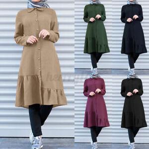 ZANZEA-Women-Long-Sleeve-Collared-Button-Down-Shirt-Dress-Ruffled-hem-Top-Blouse