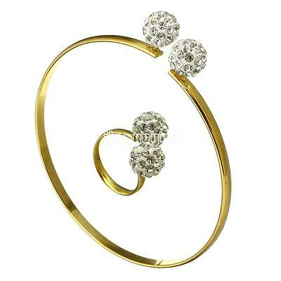 New Fashion Jewelry Set for Women Stainless Steel Gold Plated Cuff Bangle Ring