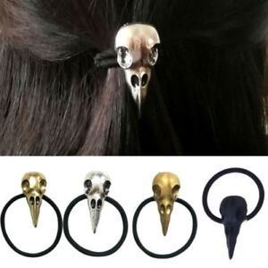 New-Lady-Gothic-Raven-Skull-Elastic-Hair-Rope-Hair-Accessories-Jewelry-Gift