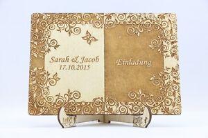Das Bild Wird Geladen Holz Einladungskarten Laser Graviert Hochzeit  Einladung Holz Einladung