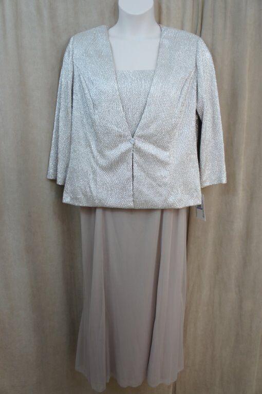 Alex Evenings Kleid 18 Champagner Beige Abendkleid Jacke Kleid