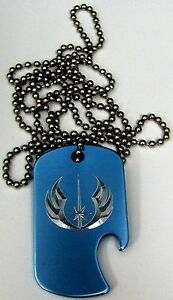 Star-Wars-Jedi-Baby-Blue-Pendant-30-034-Chain-Dog-Tag-Bottle-Opener-EDG-0347