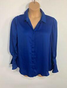 Femme-Marks-amp-Spencer-Bleu-3-4-a-encolure-ras-du-cou-a-manches-Casual-chemisier-Shirt-Grande