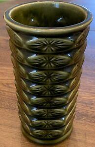 Vintage McCoy USA Floraline Atomic Starburst Vase 1960s Green