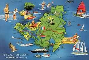 Image Is Loading Map Of Saint Martin St Maarten Caribbean French