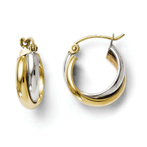 Leslies 10k Two Tone Polished 7mm x 15mm Hinged Hoop Earrings