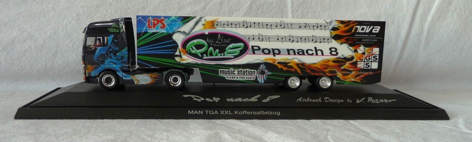 Herpa H0 121217 121217 121217  MAN TGA XXL Koffer-Sattelzug  Pop nach 8 , PC  | Stabile Qualität  05404a