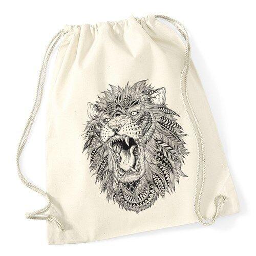 Turnbeutel Löwe Mandala Ethno Aztekenmuster Boho Aztec Hipster Beutel Tasche