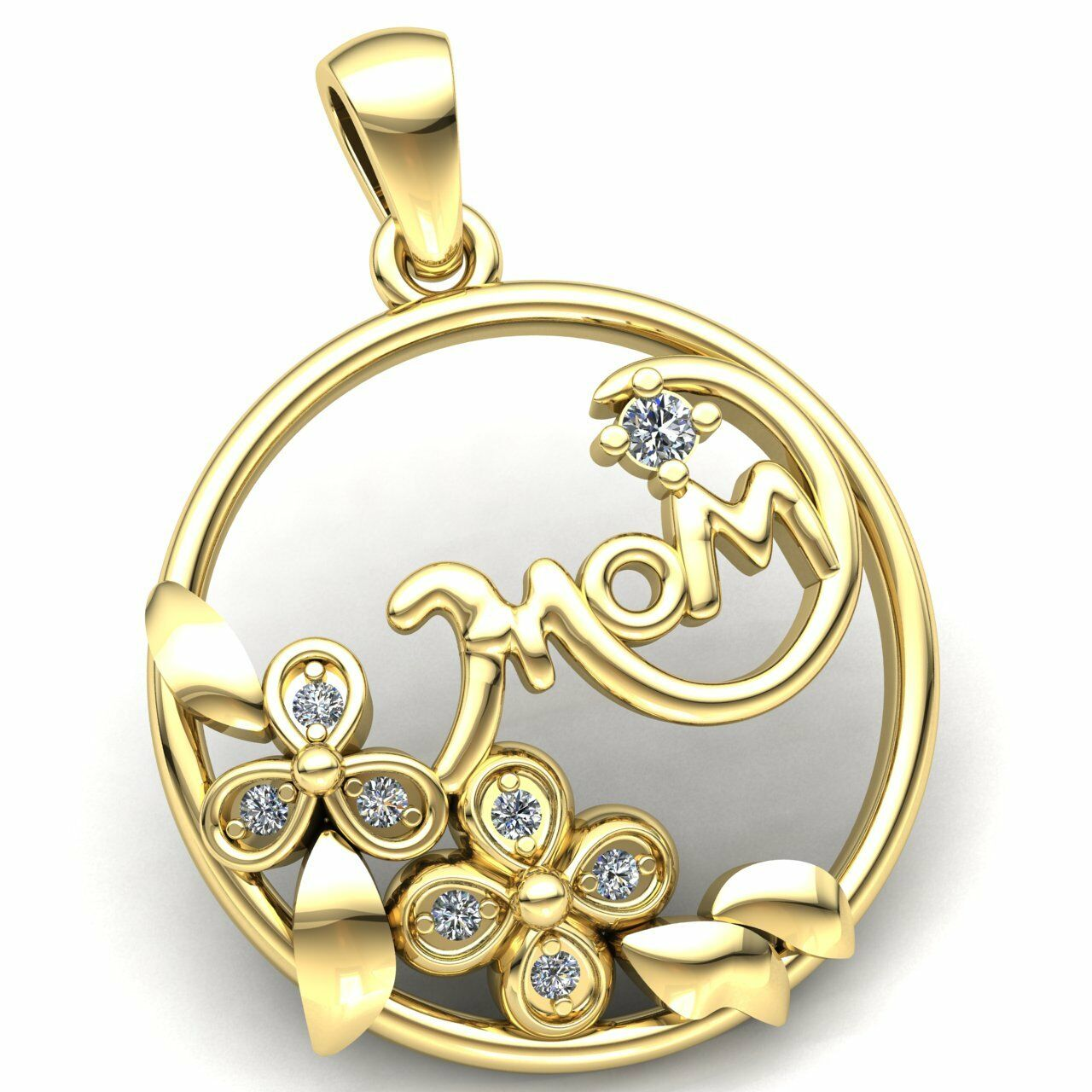 0.75carat Round Cut Diamond Ladies Flower Circle Mom's Pendant 18K gold