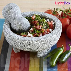 Molcajete-Tejolote-Mortar-Pestle-Mexican-Granite-Guacamole-Salsa-Spice-Grinder
