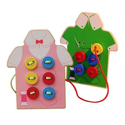 Kids Montessori Educational Toys Children Beads Lacing Board Wooden Toys