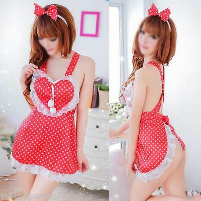 JP Women Sexy Lingerie Cute Maids Apron Cross-belt Backless Night Sleepwear Red