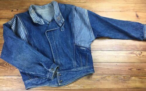 Womens Small Jacket Størrelse Jean Jordache Cropped Striped Bomber Denim 80's Vintage wB55Yx8F