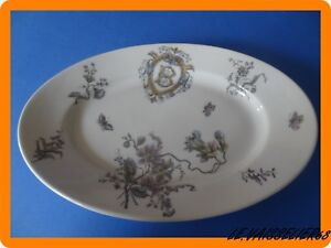 1 Ancien Plat Ovale En Porcelaine Monogramme William Guerin Limoges Art Nouveau