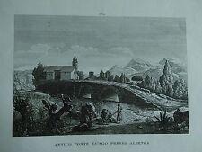 1845 Zuccagni-Orlandini Veduta Antico Ponte Lungo presso Albenga