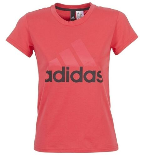 Ladies Women/'s Girls Pink New Adidas Logo Top T-Shirt