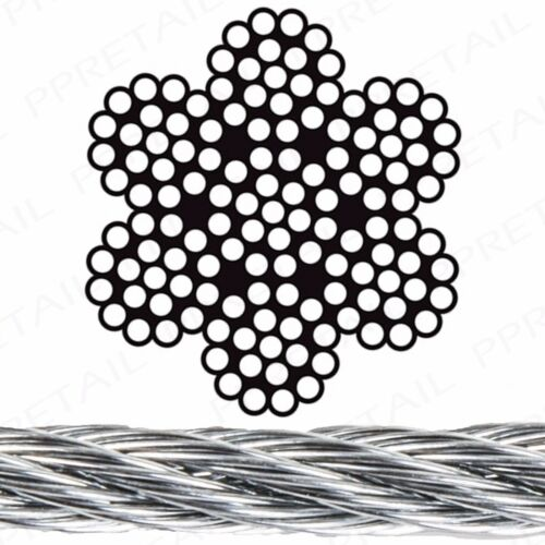 40M GALVANISED STEEL 4MM THICK ROPE WIRE Flexible Heavy Duty Garage Secure Cable