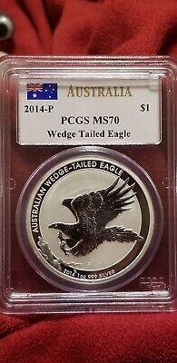 PCGS Gem BU Mercanti signature label. 2014 P $1 Australian Wedge Tailed Eagle