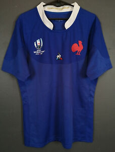 Comme-neuf-Hommes-France-national-coupe-du-monde-2019-De-Rugby-Home-Shirt-Jersey-taille-M