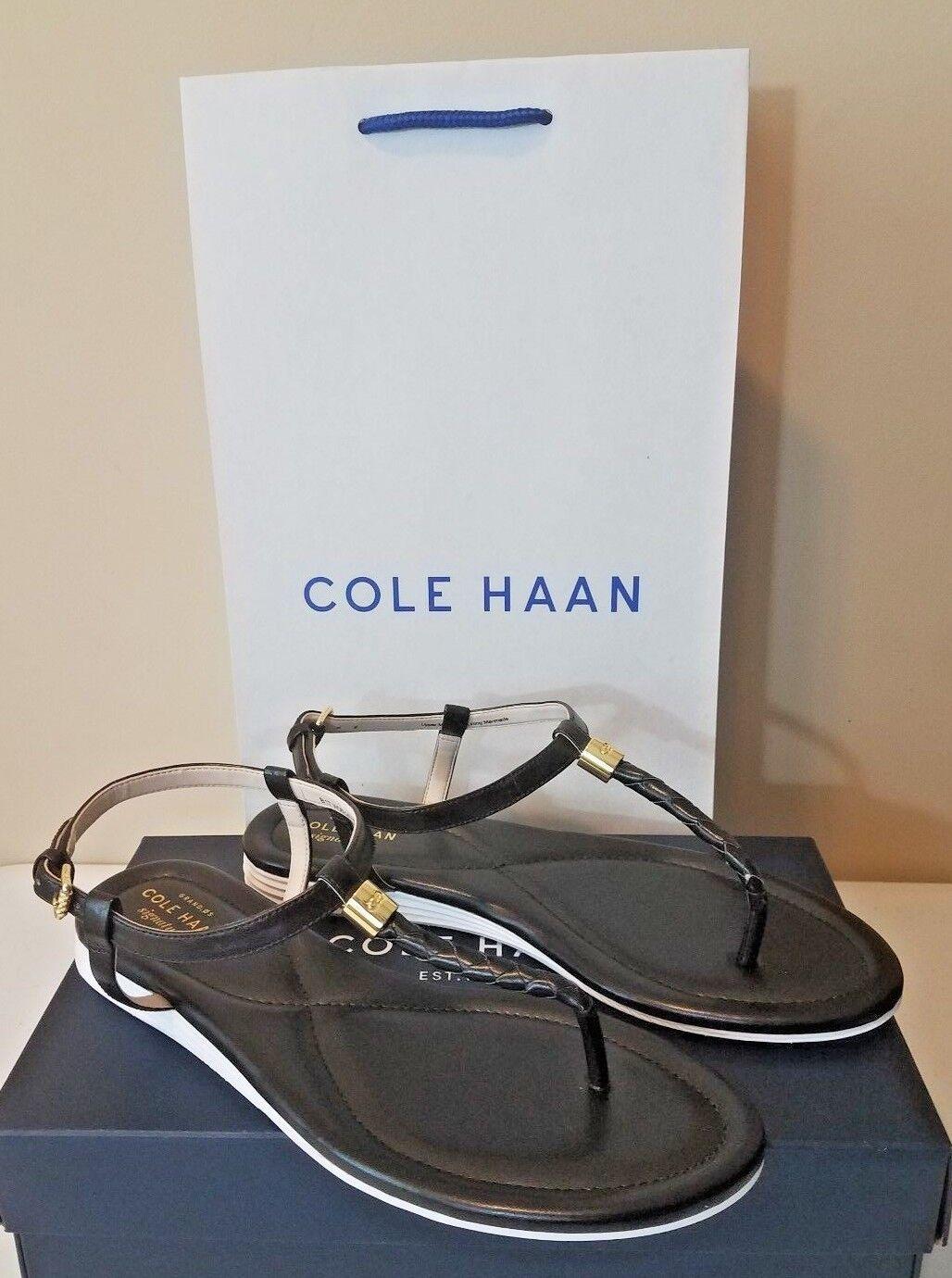 Para mujer Cole Haan Original Grand Trenza II Sandalia Negro Tallas 8 & 10.5 oro acento