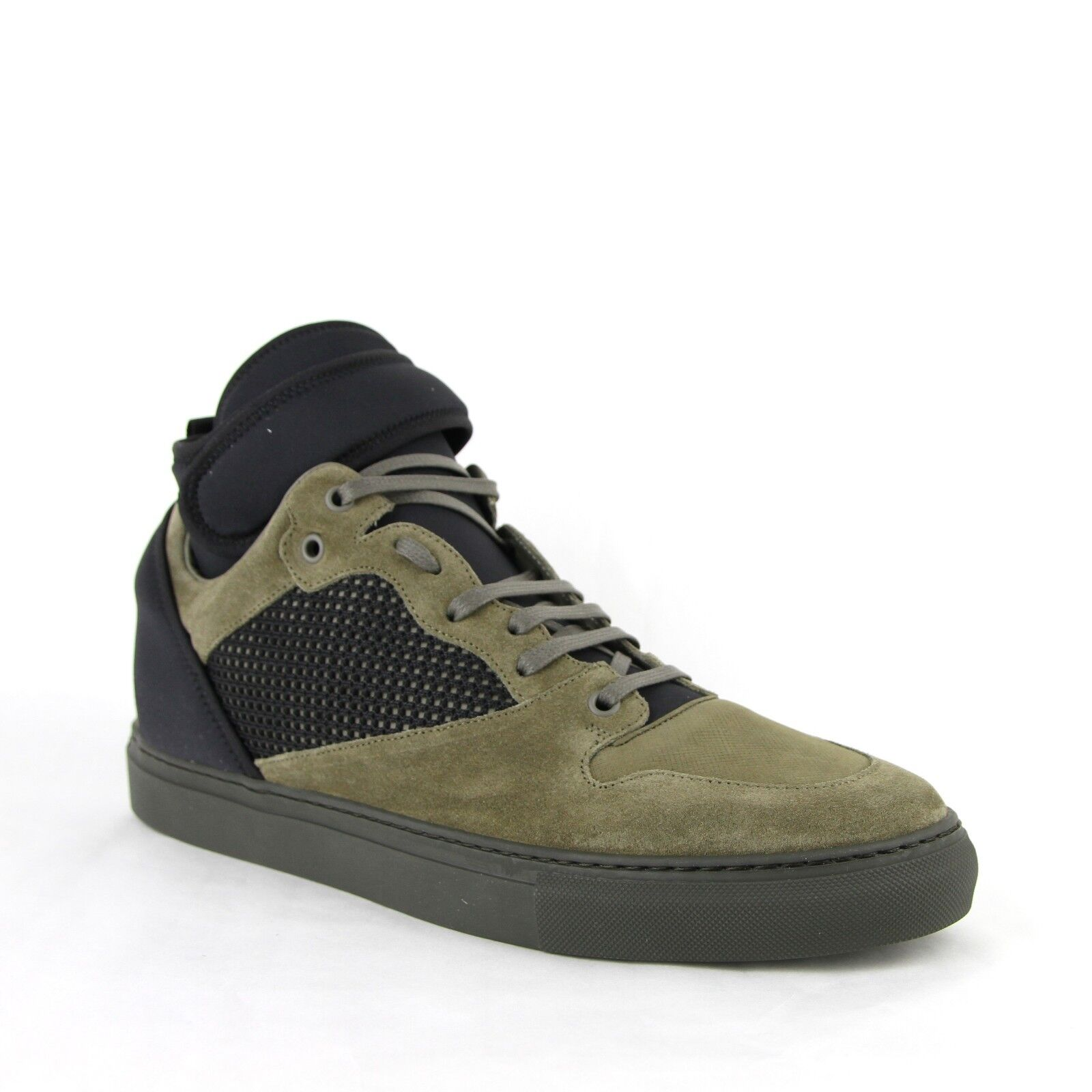 795 Balenciaga Men's Black olive Suede Leather High Top Sneakers 412349 3241