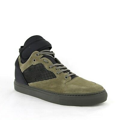 $795 Balenciaga Men's Black/olive Suede Leather High Top Sneakers 412349 3241
