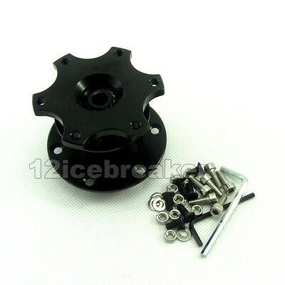 Black Steering Wheel Snap Off Quick Release Hub Adapter Boss kit Universal
