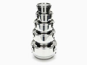 Stainless-Steel-BOWL-ONYX-Clamp-Lid-container-salad-tiffin-Food-Safe-CHOOSE-SIZE