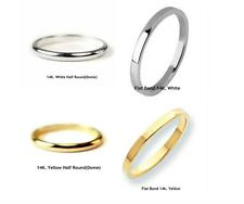 10K. & 14K.Solid Gold Band,Wedding Band or Stacking Ring 2 mm. Handmade in U.S.