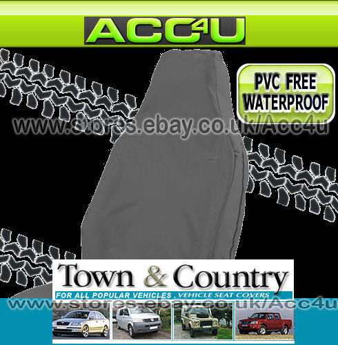 Town /& Country Muddy Waterproof 3D GREY Car Front Single Seat Cover Protector