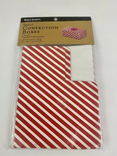 10pc Small Red White Striped Boxes Gift Boxes Cookie /& Stickers  World Market