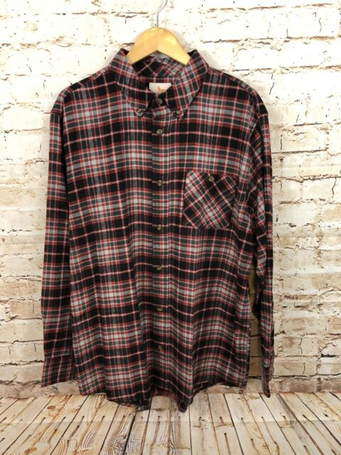 a9fa43201 FIELD   STREAM Flannel shirt mens XL red gray plaid check button front New  G2