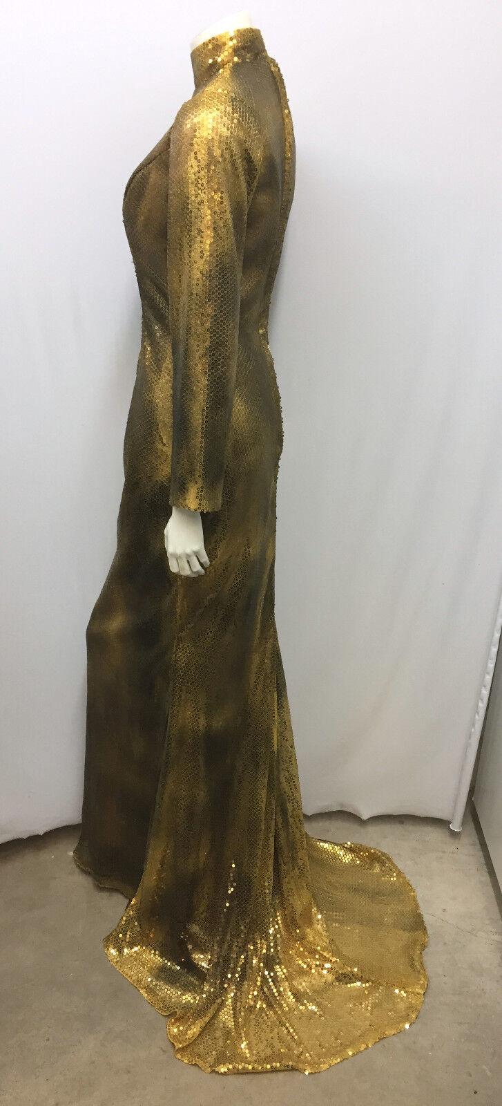 Vestido largo  lentejuelas ALEN K. hecho a mano por nuevo con etiquetas cola de pescado Bronce WORLD tonos oro XS  el precio más bajo