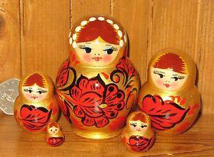 Russian-Nesting-Doll-Matryoshka-Small-5-GOLD-RED-BLACK-Khokhloma-Christmas-gift