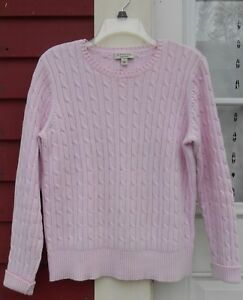 91c81690fe Details about St. John s Bay Pink Long Sleeved Crew Neck Cable Knit Sweater  Size Large (44