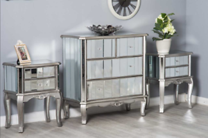 Image Is Loading Mirrored Bedroom Furniture Set Dressing Table Chest Of