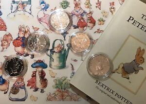 UNCIRCULATED-BIG-FIVE-Beatrix-Potter-Peter-Rabbit-coins-set-Collector-capsules