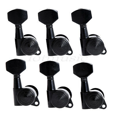 Guitar String Peg Locking Tuners Tuning Pegs Machine Heads Black 6R Inline Keys