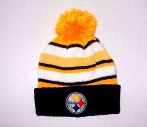 34fcc20cd Image is loading Pittsburgh-Steelers-Pom-Beanie-Winter-Headwear -Yellow-Black-